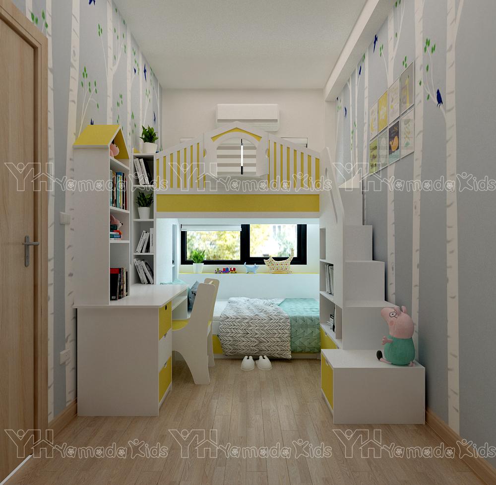 Thiết kế và thi công set phòng giường tầng cho 2 bé gái