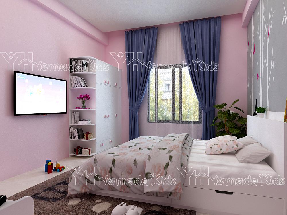 Bộ phòng đơn màu hồng cho bé gái Y21