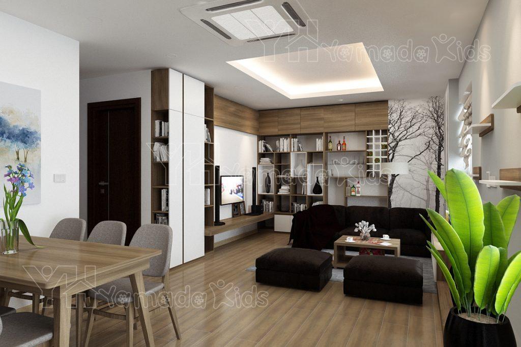 Thiết kế phòng khách chung cư Berriver Long Biên